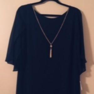 DressBarn Chain Chiffon Dress Navy Blue